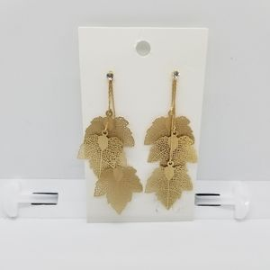 H&M gold tone leaves drop earrings